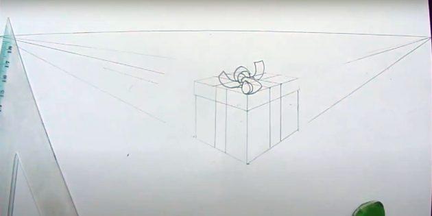 Как нарисовать подарки: Закончите бант