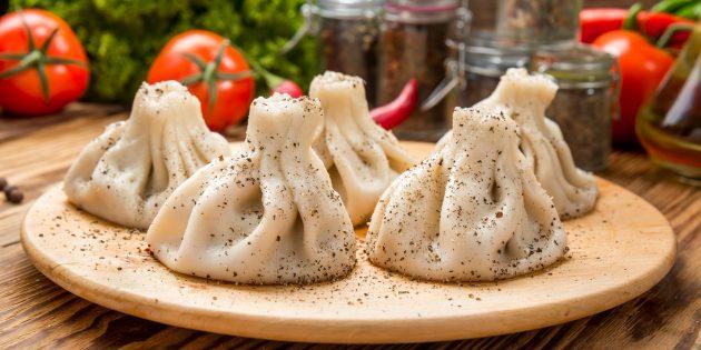 Рецепты: хинкали с грибами