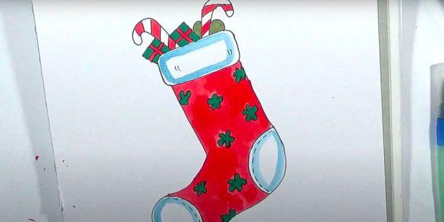 Новогодний носок с подарками