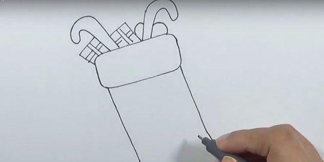 Как нарисовать подарки: Нарисуйте остальные подарки