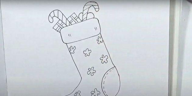 Как нарисовать подарки: Нарисуйте цветочки