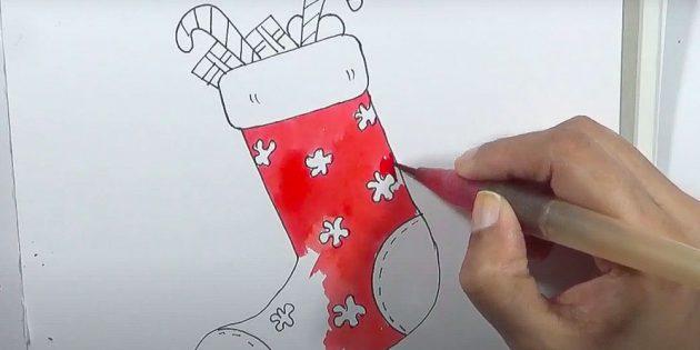 Как нарисовать подарки: Раскрасьте носок