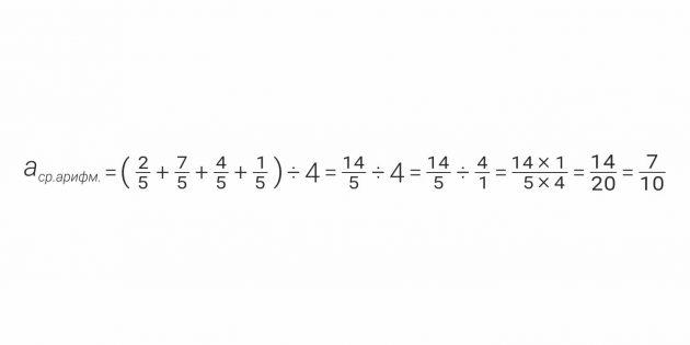 Пример расчёта среднего арифметического для обыкновенных дробей