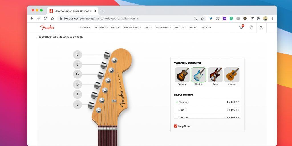 Тюнеры для гитары онлайн: Fender Online Tuner