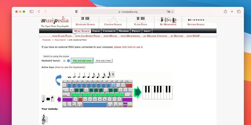 Распознавание музыки онлайн: Musipedia
