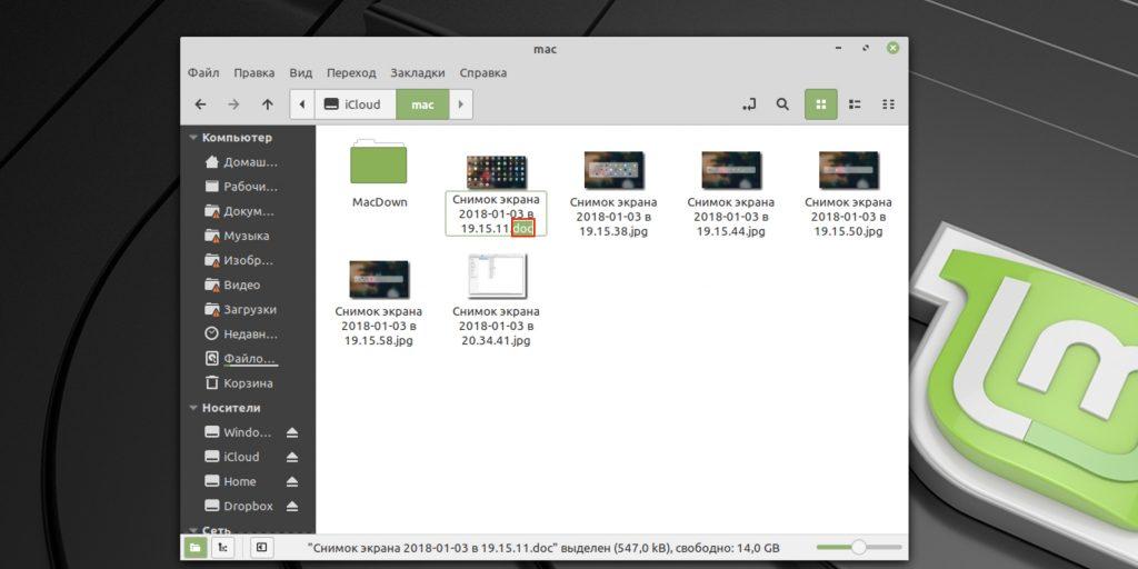 Как изменить формат файла в Linux: выберите в контекстном меню «Переименовать» и впишите новое расширение