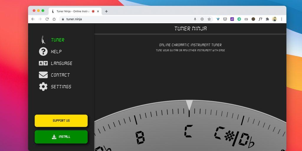Тюнеры для гитары онлайн: Tuner Ninja