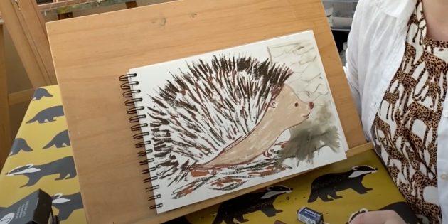 Как нарисовать ёжика: рисунок мультяшного ежа пастелью