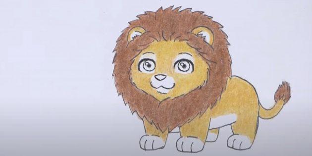 Как нарисовать льва: Закрасьте тело и голову
