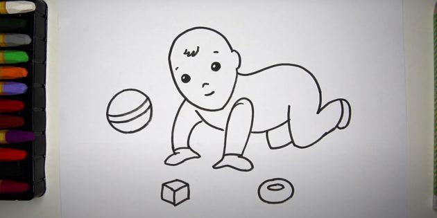 Как нарисовать ребёнка: нарисуйте игрушки