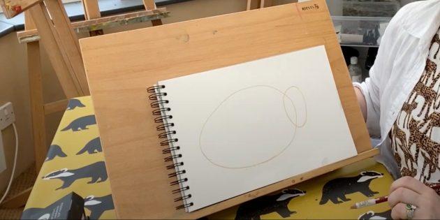 Как нарисовать ёжика: наметьте голову