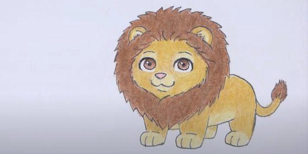Как нарисовать льва: Закрасьте мелкие детали
