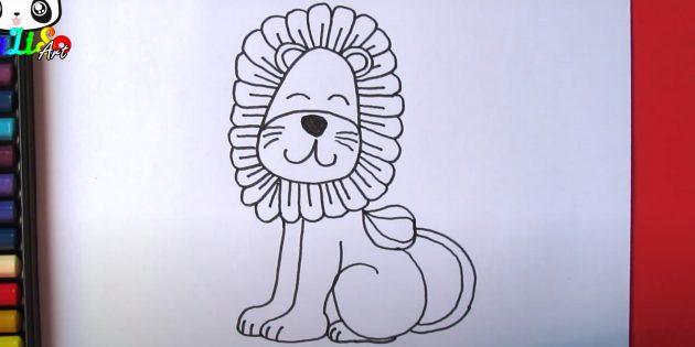 Сидящий мультяшный лев