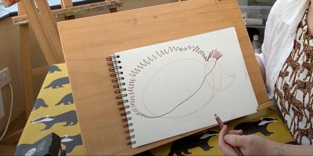 Как нарисовать ёжика: наметьте колючки и границу живота