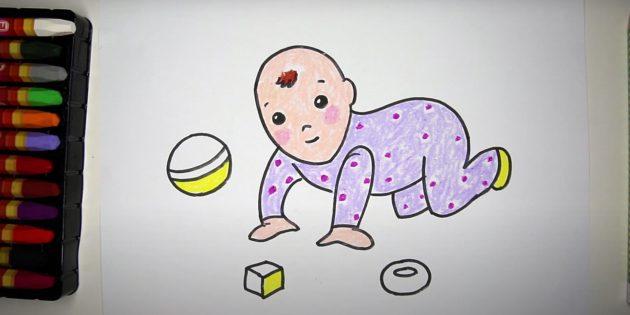Как нарисовать ребёнка: добавьте жёлтый цвет