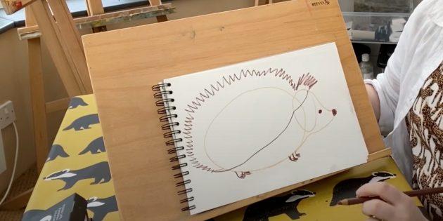 Как нарисовать ёжика: нарисуйте глаза, нос и лапы