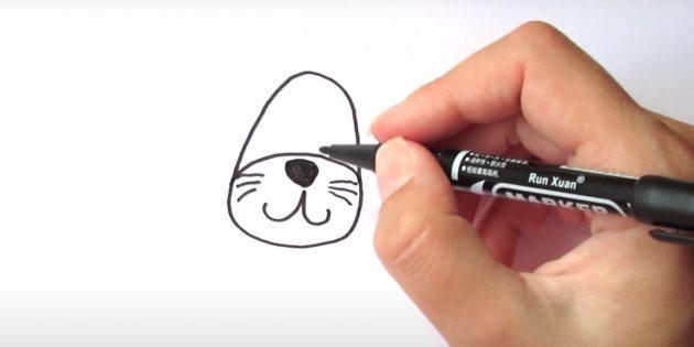 Как нарисовать льва: Нарисуйте нос и усы
