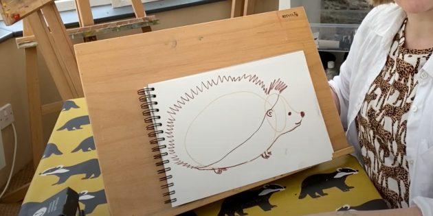 Как нарисовать ёжика: нарисуйте подбородок, ухо и улыбку