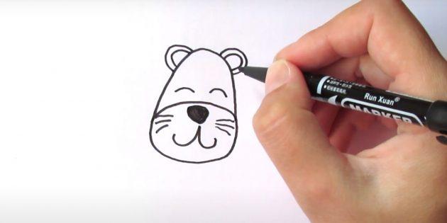 Нарисуйте глаза и уши