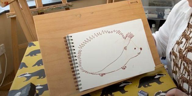 Как нарисовать ёжика: сотрите карандашный набросок