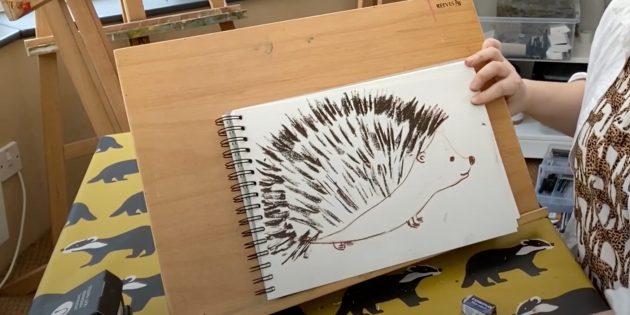Как нарисовать ёжика: нарисуйте иголки