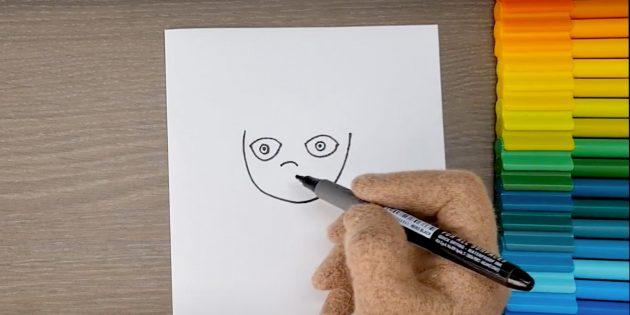 Как нарисовать ребёнка: нарисуйте глаза и нос