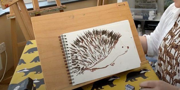 Как нарисовать ёжика: добавьте светло-коричневых иголок
