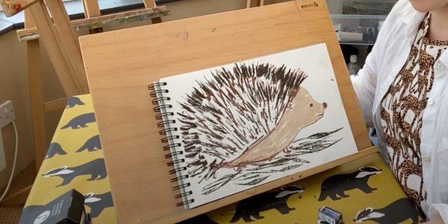 Как нарисовать ёжика: обозначьте листья
