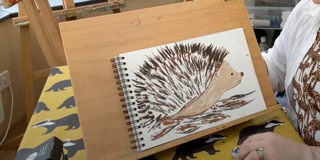 Как нарисовать ёжика: добавьте коричневый цвет