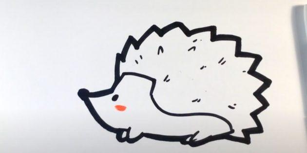 Рисунок ёжика фломастером