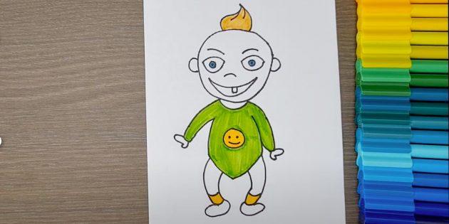 Как нарисовать ребёнка: закрасьте хохолок, комбинезон и носки