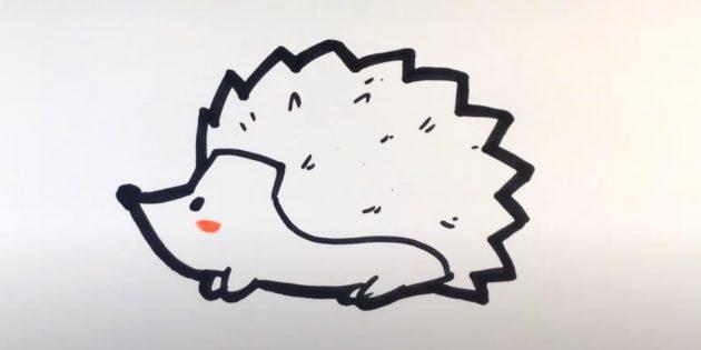Как нарисовать ёжика: нарисуйте румянец