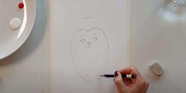 Как нарисовать ёжика: нарисуйте глаза и брови