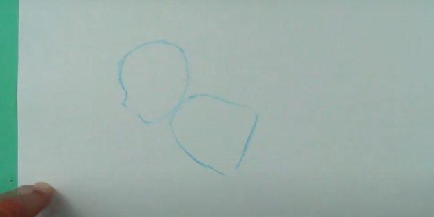Как нарисовать ребёнка: сделайте половину овала