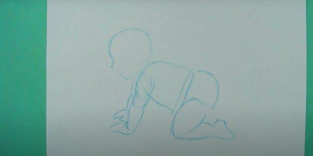 Как нарисовать ребёнка: наметьте вторую руку