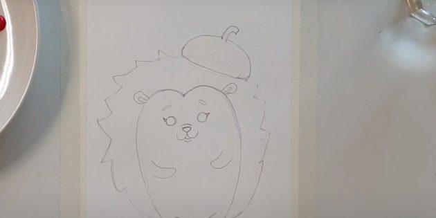 Как нарисовать ёжика: наметьте шляпку