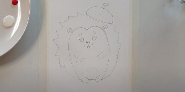 Как нарисовать ёжика: нарисуйте овал и линию