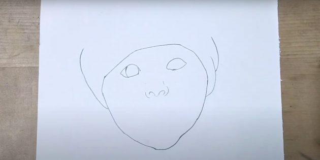 Как нарисовать ребёнка: очертите глаза и нос