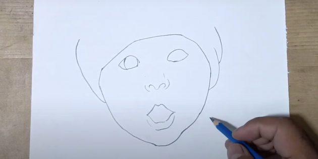Как нарисовать ребёнка: нарисуйте губы