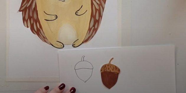 Как нарисовать ёжика: нарисуйте жёлудь