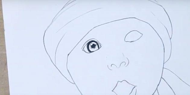 Как нарисовать ребёнка: детализируйте глаз