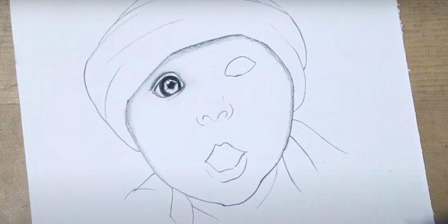 Как нарисовать ребёнка: затемните контур