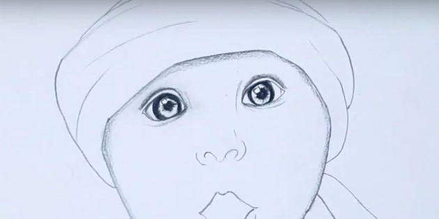 Нарисуйте второй глаз и переносицу