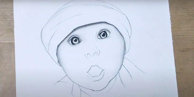 Как нарисовать ребёнка: добавьте тень под шапку