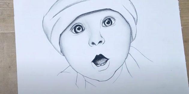 Как нарисовать ребёнка: закрасьте нос и губу