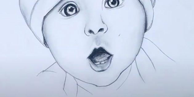 Как нарисовать ребёнка: закрасьте нижнюю губу