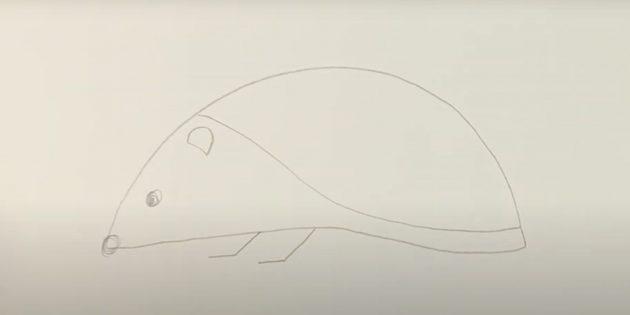 Как рисовать ёжика: наметьте лапы и ухо