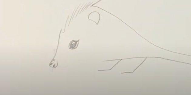 Как рисовать ёжика: прорисуйте глаз