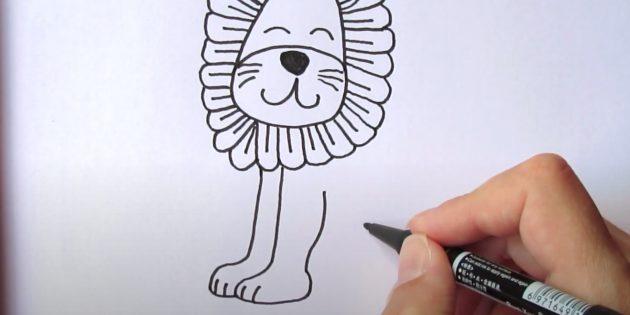Как нарисовать льва: Нарисуйте лапы