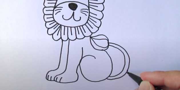 Как нарисовать льва: Нарисуйте хвост